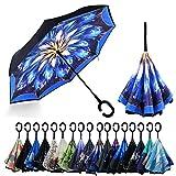 YOKITOMO 長傘 逆さ傘 丈夫 撥水 内外2枚の布の構成で耐風 熱中症対策 完全遮光 遮熱効果 閉じると自立可能 晴雨兼用 車用 (花火)人気ギフト