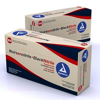 Dynarex Black Nitrile Exam Gloves, Powder Free, Medium, 100 Count/Pack of 10