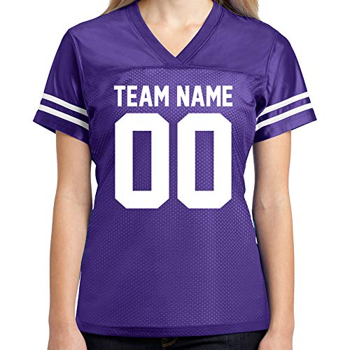 Custom Football Jersey Womens Shirt Make Your OWN 2 Sided Personalized Team Uniforms (Purple, Medium)