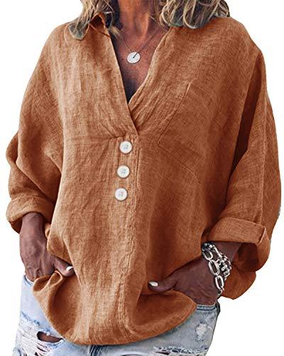 Yidarton Bluse Damen Langarm Oberteil Casual V-Ausschnitt Tops Tunika Lose Baumwolle Große Größen Hemd Leinenbluse (Orange, 3XL=(EU 44-46))