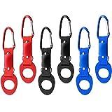 com-four® 6X Flaschenhalter aus Silikon Karabiner und Schlüsselring (06 Stück - blau/rot/schwarz)