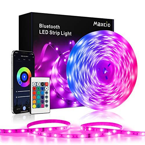 Tira de Luces LED de Bluetooth 5M, Maxcio 30D/M 5050 RGB Tira LED con Remoto de 24 teclas & Caja de control, Sincronización de Música LED Luces de Cuerda para Dormitorio, TV, Fiesta(1x5M)