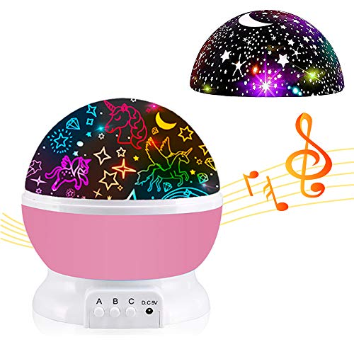 Night Light for Kids,Unicorn Gifts for Girls,Star Projector Gifts for Teenage Girls with Music 2 in 1 Popular Cool Toys Christmas Xmas Birthday Gifts for Girls Age 2 3 4 5 6 7 8 9Year Olds Baby Girls