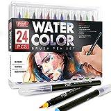 Paintmark - Rotuladores de pincel auténtico, 24 colores para acuarela con puntas de pincel de nailon flexible, caligrafía y dibujo con cepillo de agua, marcadores de pintura para colorear