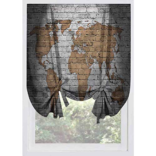 LCGGDB Wanderlust Blackout Tie Up Curtain Panels,Countries Continents Thermal Insulated Tie Up Curtains Rod Pocket Short Curtains for Small Windows, Doors, French Doors, Kitchen Windows,32'x55'