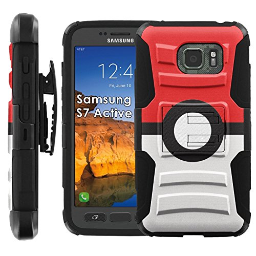 Samsung Galaxy [S7 Active] Armor Case [Mobiflare] [Black/Black] Armor Phone Case [Screen Protector INCLUDED] - [Red Ball]