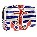 Kit de Maquillaje Raya Azul de Vela roja Neceser Makeup Bolso de Cosméticos Portable Organizador Maletín para Maquillaje Maleta de Makeup Profesional 18.5x7.5x13cm