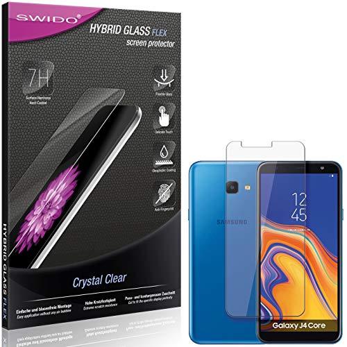SWIDO Panzerglas Schutzfolie kompatibel mit Samsung Galaxy J4 Core Bildschirmschutz-Folie & Glas = biegsames HYBRIDGLAS, splitterfrei, Anti-Fingerprint KLAR - HD-Clear