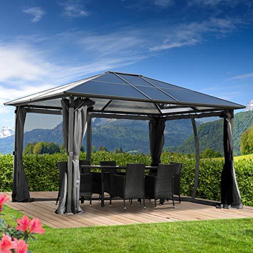 BRAST Alu-Pavillon Premium 3x4m grau festes Dach wasserdicht + Moskitonetz + LEDs 2 Farben 3 Größen 16 Modelle