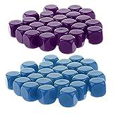 Baoblaze 50 Piezas Dados en Blanco D6 Juego de Mesa DIY Hecho de Acrílico 16cm - Púrpura + Azul