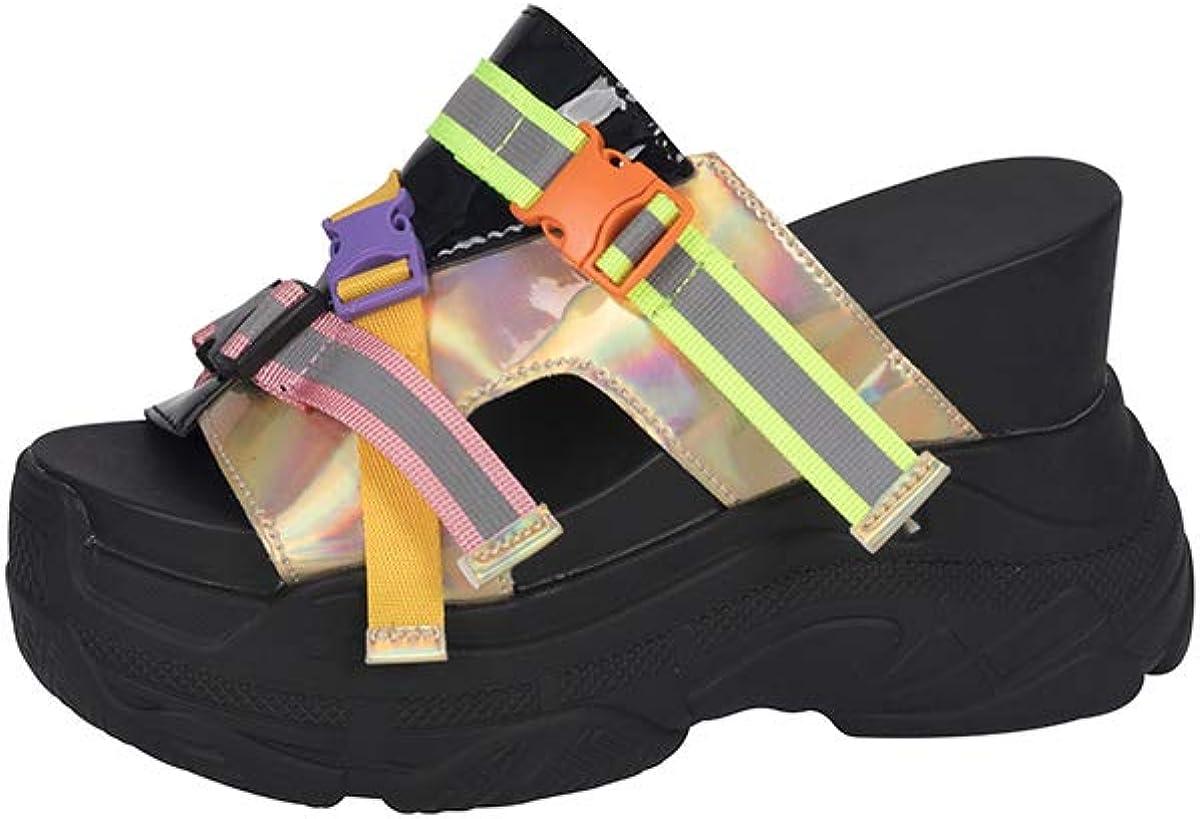 LUCKY STEP Women Open Toe Slides Wedge Sandals Thick Bottom Summer Platform Slip-on Slipper