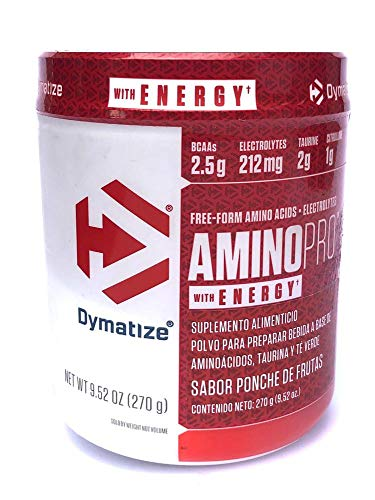 Dymatize AMINO PRO Plus Energy 9.52 OZ Gluten Free, Pre and Post Workout Nutrition Energy Supplement, Fruit Punch (with Caffeine),...
