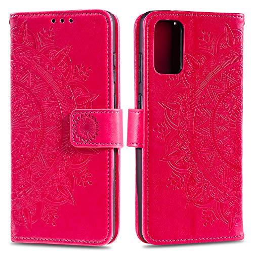 HTDELEC Samsung Galaxy A41 Hülle,Ultra Slim Flip Hülle Rot Etui mit Kartensteckplatz & Magnetverschluss Leder Wallet Klapphülle Book Hülle Bumper Tasche für Samsung Galaxy A41(T-Rot)