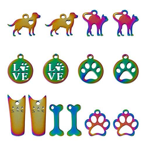 Beadthoven - 14 colgantes de acero inoxidable para mascotas con diseño de gato arco iris, huellas de perro y huellas de huesos para hacer manualidades