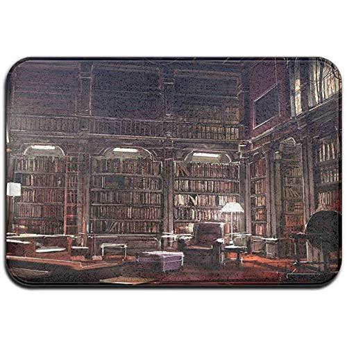 Qinzuisp Deurmat klassieke bibliotheek, rubberen badmat veranda, huisdeurmatten Outdoor Entry tapijt Indoor Garage standaard tapijt 40X60cm Home Welkom