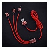YYOMXXOM Cargador de Coche Dual USB para teléfono móvil Tablet GPS Cargador rápido Cristal Diamond Teléfono 3 Línea de Datos Alambre en Coche Cigarrillo Encendedor (Color Name : Red Data Line Wire)