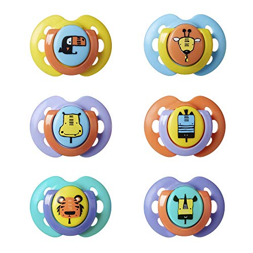 Tommee Tippee Fun Soothers, 0-6 Months, 6-Piece, Mixed