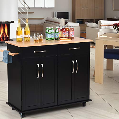 Kitchen Island on Wheels Kitchen Cart Trolley with Storage, Drawers, Cabinet, Towel Rack and Rubber Wood Top Kitchen Cart with Lockable Wheels for Home Hotel Kitchen Dinning Room, Black
