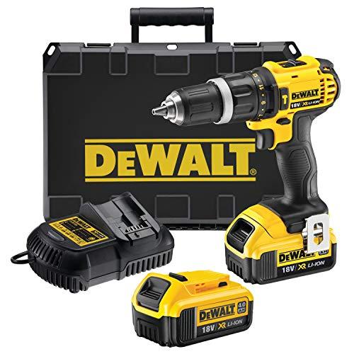 DeWalt DCD785M2-QW - Taladro percutor a bateria XR 18V, 13 mm, 60 Nm con 2 baterías Li-Ion 4, 0 Ah y maletín