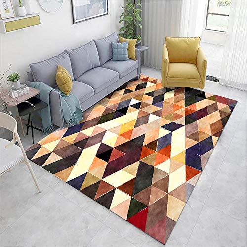 Xiaosua Alfombra Juegos Marrón Alfombra de salón marrón borroso triángulo patrón Suave Alfombra Antideslizante alfombras alargadas 160x140cm Suelo Exterior terraza 5ft 3''X4ft 7.1''