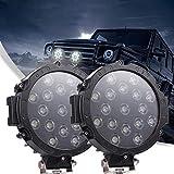 "7"" 51W LED Light Bar, 5100LM Round Spot Pods Light Road Driving Lights Beam Off-road Light Fog Bumper Roof Light for Jeep SUV ATV Truck Boat Tractor (Black)"
