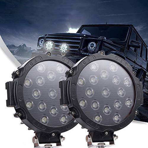 7 Faros Led 4x4 51W Luz de Trabajo Led, Largo Alcance 5100LM Focos de Led 12v Trabajo para Tractor, Remolque, Furgoneta, Caravana, Barco