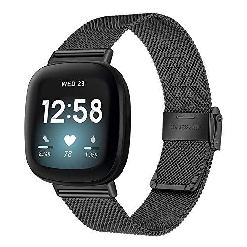 TRUMiRR Compatible con Fitbit Versa 3/Fitbit Sense Correa de Reloj, Correa de Reloj de Acero Inoxidable Tejida con Malla Pulsera de Correa de Repuesto para Fitbit Versa3/Fitbit Sense Hombres Mujeres