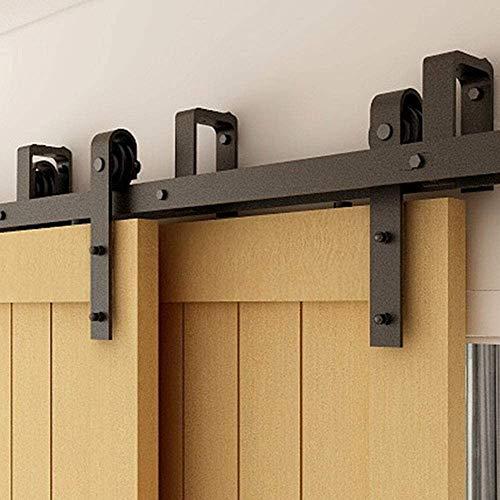TSMST 6.6FT-200CM Bypass Binario per Porta Scorrevole Kit Accessori Armadio a Rulli a Doppio Binario in Stile Rustico per Porta Doppia