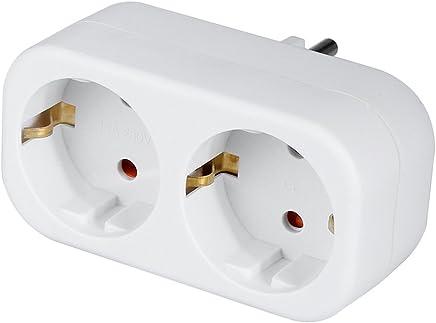 un s/écurit/é enfant incl les deux en blanc Bloc multiprise 3/prises Adaptateur multiprise 2/x prises Euro et 1/x adaptateur prise de terre