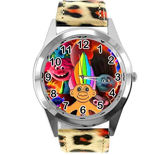 Reloj redondo de piel con estampado de leopardo para fans enanos