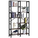 Homcom Étagère bibliothèque séparateur de pièce Style Industriel en escalier 6 étagères Panneaux Particules Aspect Vieux Bois métal Noir