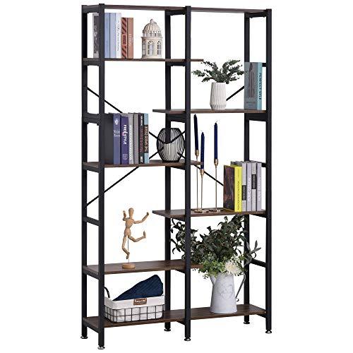 homcom Grande Scaffale Libreria da Parete in Legno e Metallo Nero con 6 Ripiani, Stile Vintage Industriale, 100x30x182cm