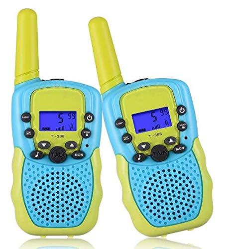 ThinkMax Walkie Talkie per Bambini 2 Pezzi, 22 canali 2 Vie Giocattolo radiofonico 3 miglia a Lungo Raggio con Torcia LCD retroilluminato