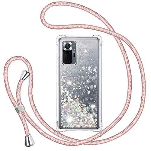 Funda Glitter Liquida con Cuerda para Xiaomi Redmi Note 10 Pro/Note 10 Pro Max, Bling Suave Silicona TPU Bumper Protector Carcasa, Brillante Movediza con Colgante Ajustable Cordón Case -Oro Ro