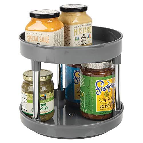 mDesign Especiero giratorio con dos pisos – Práctico estante para especias para los armarios de la cocina o la encimera – Soporte giratorio de plástico para condimentos – gris