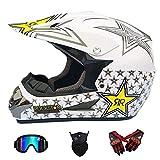 GLR Casque de Motocross Adulte MX Moto Casque Scooter ATV Casque Route Course D. O. T...