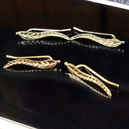 Burenqi Oorbel 2 paar Sieraden Prachtige Goud Kleur Blad Oorbellen Moderne Mooie Veer Stud Oorbellen Voor Vrouwen