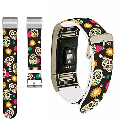 Skulls Bands for Fitbit Charge 2,Ecute Replacement Leather Band for Fitbit Charge 2 Bands Strap with Metal Connectors for Men Women - Star Skulls