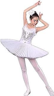 WENDYWU Women Swan Ballet Tutu Hard Organdy Platter Performance Leotard Dress