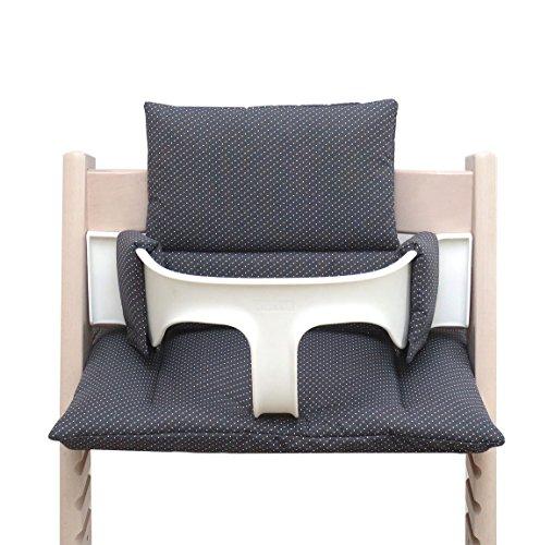 Blausberg Baby – hochwertiges Tripp Trapp Sitz-Kissen Set für Stokke Hochstuhl - 2-teilige Auflage/Polster/Sitzverkleinerer für Kinderhochstuhl – DIVERSE FARBEN (Dunkelgrau Pünktchen)