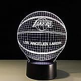 Los Angeles Lakers 3D-Nachtlicht American Basketball Club Light USB-LED-Beleuchtung Nachttischlicht Nachttischlicht