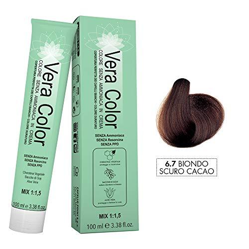 Vera Color - 6.7 Rubio Oscuro Cacao - Tinte Profesional Permanente, Crema de Coloración sin Amoníaco con Queratina Vegetal, Aloe Vera y Bayas de Goji - Cobertura Total de las Canas - 100 ml