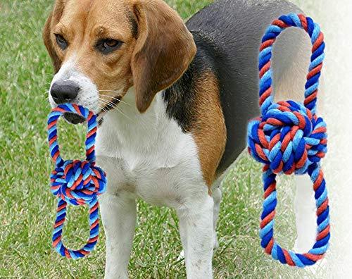 Hundespielzeug - Wurfball mit Zwei Schlaufen - Größe M - Baumwollstrick - Wurfspielzeug - Hundeball - waschbar - Zahnpflege für Hunde - Affenfaust - nachhaltiges Hundespielzeug - für Welpen geeignet