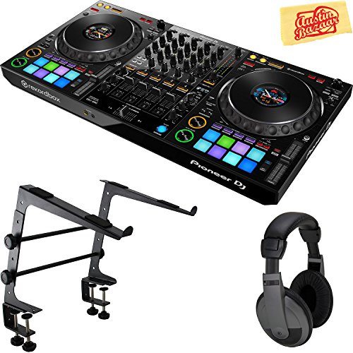 Pioneer DDJ-1000 Professional 4-Channel Controller for Rekordbox DJ Bundle with Gearlux Laptop Stand, Headphones, and Austin Bazaar Polishing Cloth
