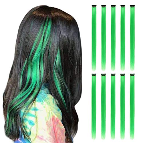 RINBOOOL Green Hair Extensions Clip in, 22 Inch 10 Pcs Long Straight Colored, for Kids Girls Women Highlight Party, Synthetic