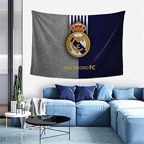 Tapiz de pared con logotipo del equipo de fútbol del Real Madrid para colgar en la pared, diseño de telón de fondo multiuso, para sala de estar, dormitorio, tamaño único.