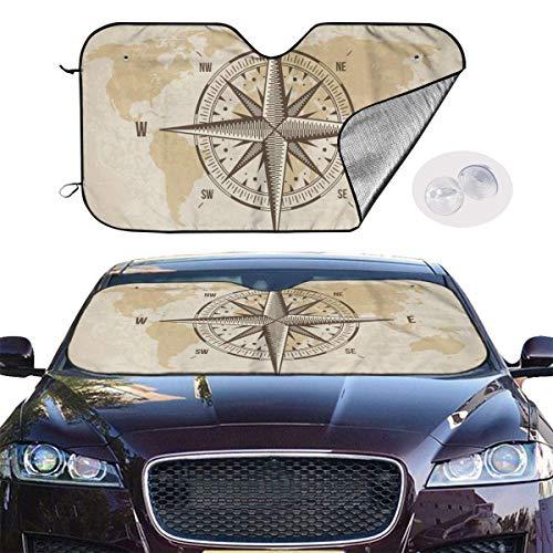 VTIUA Protector para Parabrisas,Vintage Nautical Compass Old World Map Portable Universal Sunshade Keeps Vehicle Cooler for Car,SUV,Trucks,Minivan Automotive and Most Vehicle Sunshade (51 X 27 in)