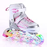 Kuxuan Inline Skates Adjustable for Kids,Girls Skates with All Wheels Light up,Fun Illuminating for Girls and Ladies (Pink & Gray-2020, Small-Little Kid(10-13 US))