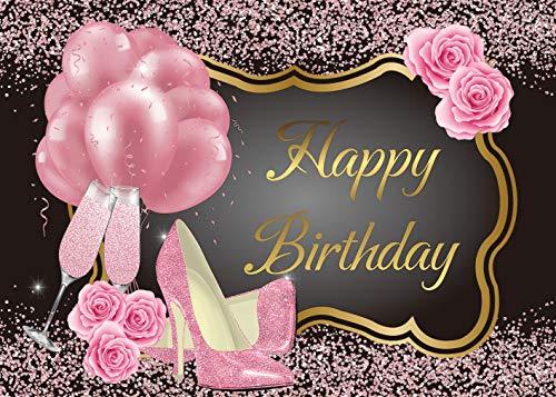 DANIU Pink Happy Birthday Hintergrund Rose Floral Golden Ballons Heels Champagner Glas Hintergrund Prom Party Decor Frauen Party Supplies 1,8 x 1,2 m