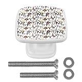 Juego de 4 pomos cuadrados para armarios de cocina y baño, cajones y persianas pintadas a mano, diseño de setas salvajes